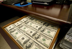 Drawer Full of Money Stock Photos