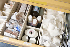 Drawer of medical supplies Stock Photos