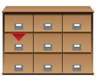 Drawer organizer with red cloth Stock Photo
