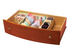 Drawer with sorted socks, Royalty Free Stock Image