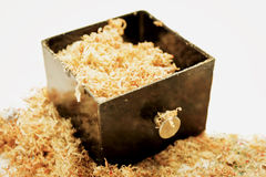 Drawer with wood chips Stock Image