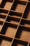 Drawer wooden compartments. Empty close up Stock Photography