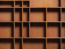 Drawer wooden compartments empty. Close up Stock Image