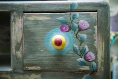 Drawer of wooden dresser painted and decorated diy Stock Image