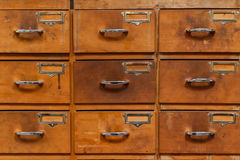 Drawers with blank tags Royalty Free Stock Image