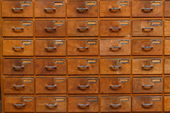 Drawers with blank tags Stock Photo