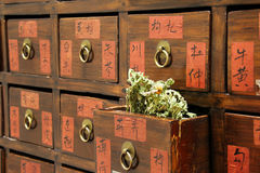 Drawers of Chinese medicine shop Royalty Free Stock Images