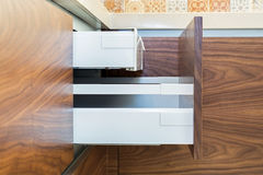 Drawers of design kitchen. Two drawers in one. stock photography