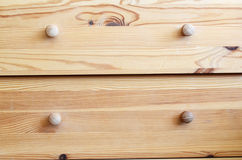 Drawers. Detail of simple wooden drawers Stock Photography