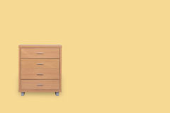 Drawers isolated on yellow background. Drawers isolated on yellow background and space for copy Royalty Free Stock Images