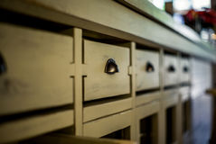 Drawers of a kitchen cupboard Royalty Free Stock Photo