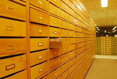 Drawers in library Royalty Free Stock Photo