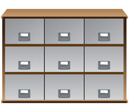 Drawers whith labels on handles. Drawer organizer with drawers and labels on the handles. Vector illustration Royalty Free Stock Photos