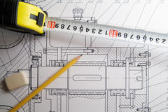 Drawing. Design, pencil eraser and tape-measure Royalty Free Stock Photography