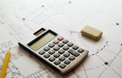 Drawing. Design, pencil eraser and calculator Stock Photos
