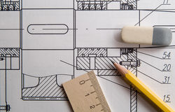 Drawing. Design drawing, pencil and eraser Royalty Free Stock Image