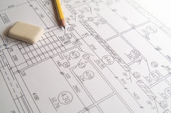 Drawing. Design, pencil and eraser Stock Photography