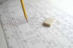 Drawing. Design, pencil and eraser Royalty Free Stock Photography