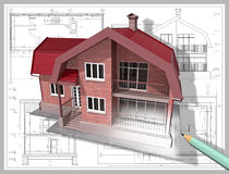 Drawing. 3D isometric view the residential house on architect's drawing Royalty Free Stock Photography