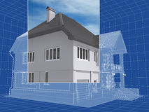 Drawing. 3D isometric sketch of the residential house Stock Photo