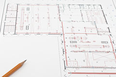 Drawing. Sketch, pencil,  process of designing buildings Royalty Free Stock Photo
