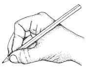 Drawing. Hand with pencil, hand drawn and sketched Royalty Free Stock Images