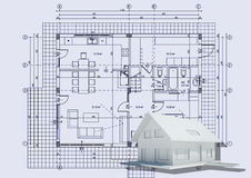 Drawing with 3d house. House with drawing for web design or presentation Royalty Free Stock Image