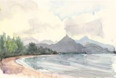 Drawing湖 免版税库存照片