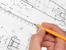 Drawing. Constructing of model. Development of draft. Excellent quality stock image