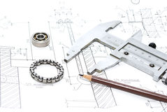 Drawing. Architecture drawings and working tools Royalty Free Stock Image