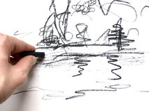 Drawing. Hand drawing a sketch with a pen Royalty Free Stock Image