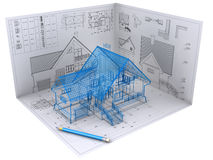 Drawing. 3D isometric view the residential house on architect's drawing. Background image is my own Royalty Free Stock Images