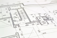 Free Drawing A Floor Plan Of The Building Royalty Free Stock Photography - 49585497