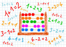 Drawing of abacus. And numbers royalty free illustration