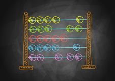 Drawing of abacus. Drawing of colorful abacus on blackboard stock illustration