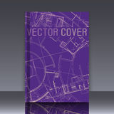 Drawing of abstract architectural detail on flat surface. Image of colorful blueprint for use as background for web and print. Template for cover or banner stock illustration