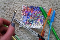 Drawing abstraction with colored pens. Creation, patterns, experiment, do it yourself? handmade stock photos