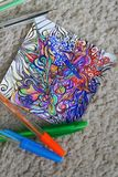 Drawing abstraction with colored pens. Creation, patterns, experiment, do it yourself? handmade stock photography