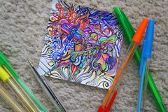 Drawing abstraction with colored pens. Creation, patterns, experiment, do it yourself? handmade royalty free stock image