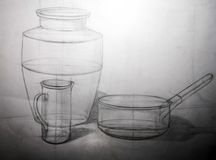Drawing academic. Sphere sphere and a vase is drawn by a pencil on a white paper.Drawing studio works Stock Photography