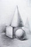 Drawing academic. Sphere is drawn by a pencil on a white paper.Drawing studio works Royalty Free Stock Photos