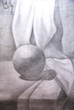 Drawing academic. Sphere is drawn by a pencil on a white paper.Drawing studio works Stock Photo