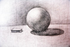 Drawing academic. Sphere is drawn by a pencil on a white paper.Drawing studio works Stock Photography