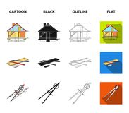 Drawing accessories, metropolis, house model. Architecture set collection icons in cartoon,black,outline,flat style. Vector symbol stock illustration Royalty Free Stock Photos