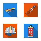 Drawing accessories, metropolis, house model. Architecture set collection icons in flat style vector symbol stock. Illustration Stock Photography