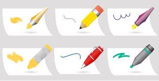 Drawing accessories vector set Royalty Free Stock Images