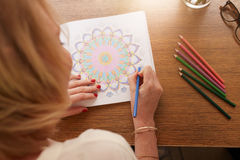 Drawing in adult coloring book Royalty Free Stock Photography