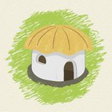 Drawing african hut on background Royalty Free Stock Photo