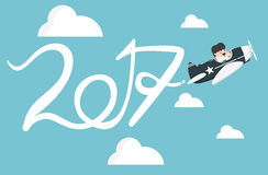 Drawing Airplane in the sky, new Year concept Flat vector. Clip art stock illustration
