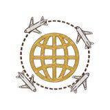 drawing airplane travel world international Royalty Free Stock Image